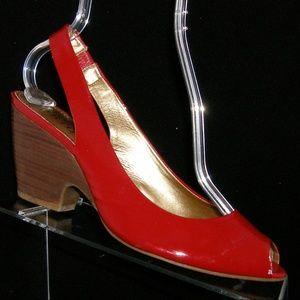 Franco Sarto red patent elastic slingbacks 9.5M